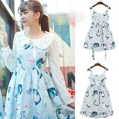 GOGO Girl - Cat Print Pinafore Dress