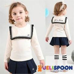 JELISPOON - Girls Set: Sailor-Collar Top + Pleated Mini Skirt