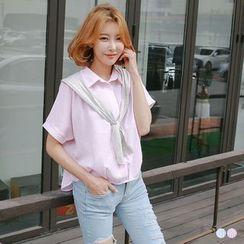 OrangeBear - 条纹短袖衬衫