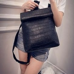 ALIN - Faux-Leather Croc-Grain Backpack