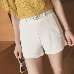 Cocofield - Plain Shorts with Belt