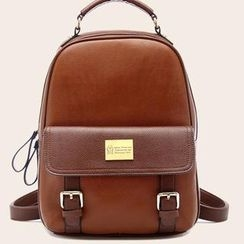 Miss Sweety - Faux-Leather Buckled Backpack