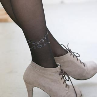 Clair Fashion - 'Anklets' Print Sheer Tights