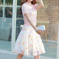 Athena - Set: Knit T-Shirt + Ice-Cream Print Skirt