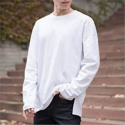 STYLEMAN - Round-Neck Slit- Side T-Shirt