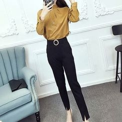 ZAPPA - Set: Mock Neck Long-Sleeve Blouse + Slit Hem Pants
