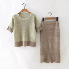 BOHIN - Set : Elbow-Sleeve Knit Top + Skirt