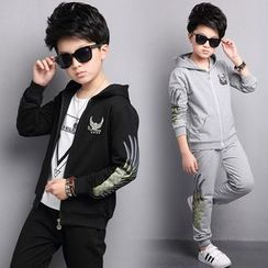 Pegasus - Kids Set : Print Hooded Jacket + Sweatpants