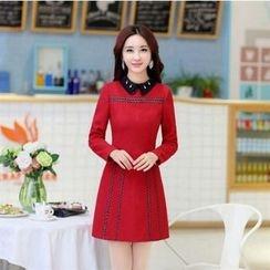 Romantica - Wool Blend Paneled A-Line Dress
