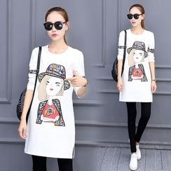 Emeline - Long-Sleeve Print T-Shirt Dress