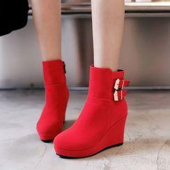Kireina - Platform Wedge Buckled Short Boots