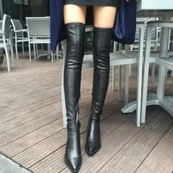SouthBay Shoes - Chunky Heel Over-the-Knee Boots