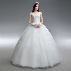 Gracia - Cap-Sleeve Lace Ball Gown Wedding Dress