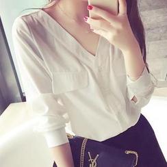 菲兒 - V領雪紡襯衫