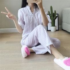 Viana Smile - Maternity Pajama Set: Gingham Long-Sleeve Top + Pants