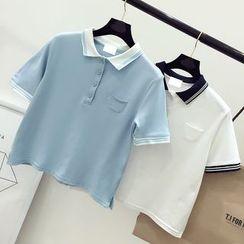 DIYI - 撞色短款短袖馬球衫