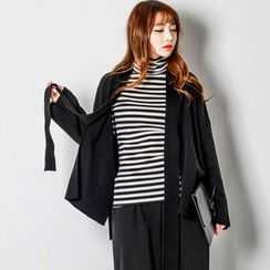 FASHION DIVA - Tie-Front Wool Blend Cardigan