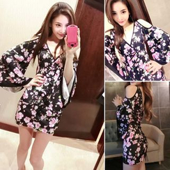 Neon Nite - Floral Print Cut Out Shoulder Long Sleeve Mini Dress