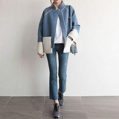 NIPONJJUYA - Stand-Collar Tow-Tone Jacket