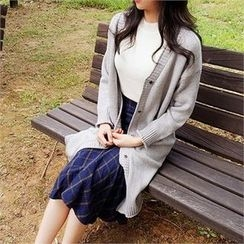 ERANZI - Pocket-Side Long Cardigan