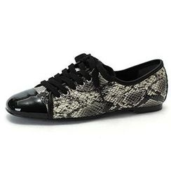 MODELSIS - Lace-Up Genuine Leather Sneakers
