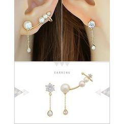 soo n soo - Faux-Pearl Ear-Cuff & Single Rhinestone Earring