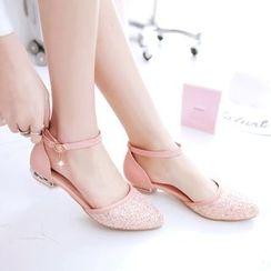 Pastel Pairs - 踝帶亮面高跟鞋
