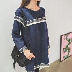 WITH IPUN - Contrast Fringed-Trim Dress