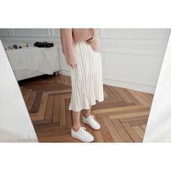 UPTOWNHOLIC - Band-Waist Pleated Midi Skirt