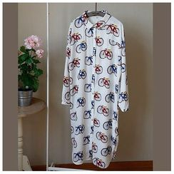 Rosadame - Bicycle Printed Chiffon Shirtdress