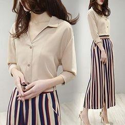 Ashlee - 套裝: 七分袖V領襯衫 + 條紋寬身褲
