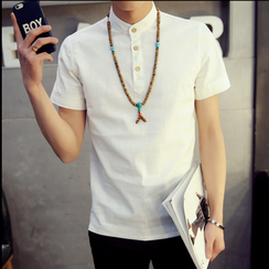 Consto - Stand Collar Short-Sleeve Shirt