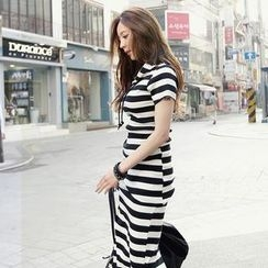 REDOPIN - Set: Hooded Stripe Pullover + Midi Skirt
