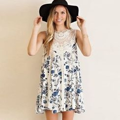 Fundae - Lace Panel Floral Print Tank Dress