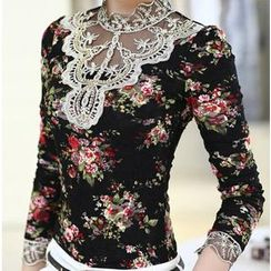 Sienne - Lace Trim Floral Print Long Sleeve T-Shirt
