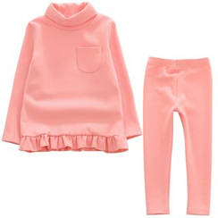Lemony dudu - Kids Set: Frill Hem Long-Sleeve Top + Pants