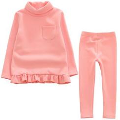柠檬嘟嘟 - 小童套装: 荷叶襬长袖上衣 + 长裤