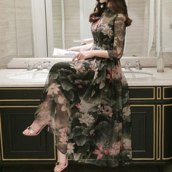 Lavogo - Elbow-Sleeve Floral Maxi Dress