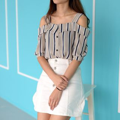 Imogen - Striped Cold Shoulder Chiffon Blouse