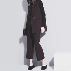 Sonne - Set: Lapel Dress Vest + Straight-Fit Cropped Dress Pants