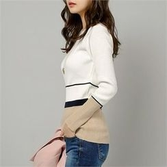 Styleberry - Round-Neck Color-Block Ribbed Top