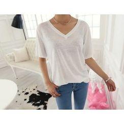 DANI LOVE - Linen Blend V-Neck T-Shirt