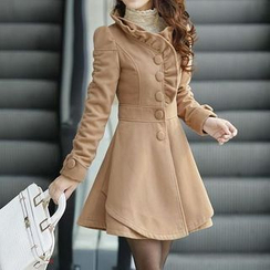 JVL - Layered Hem Ruffled A-Line Coatdress