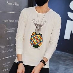 DUKESEDAN - Deer Print Long Sleeve T-Shirt