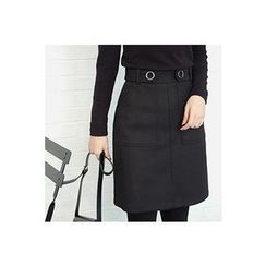 CHERRYKOKO - Dual-Pocket Belted Skirt