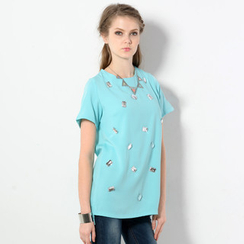 59 Seconds - Jeweled Chiffon Tunic
