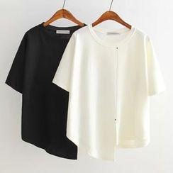 Ainvyi - Asymmetrical Short-Sleeve T-Shirt