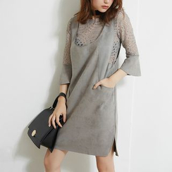 AC - Set: Faux-Suede Tank Dress + Bell-Sleeved Lace Top