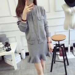 Furuto - 套裝: 純色開衫 + 魚尾連衣裙