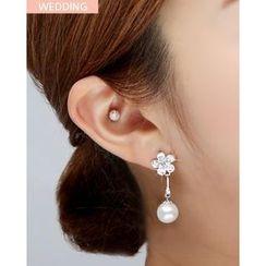 Miss21 Korea - Rhinestone Faux-Pearl Drop Earrings